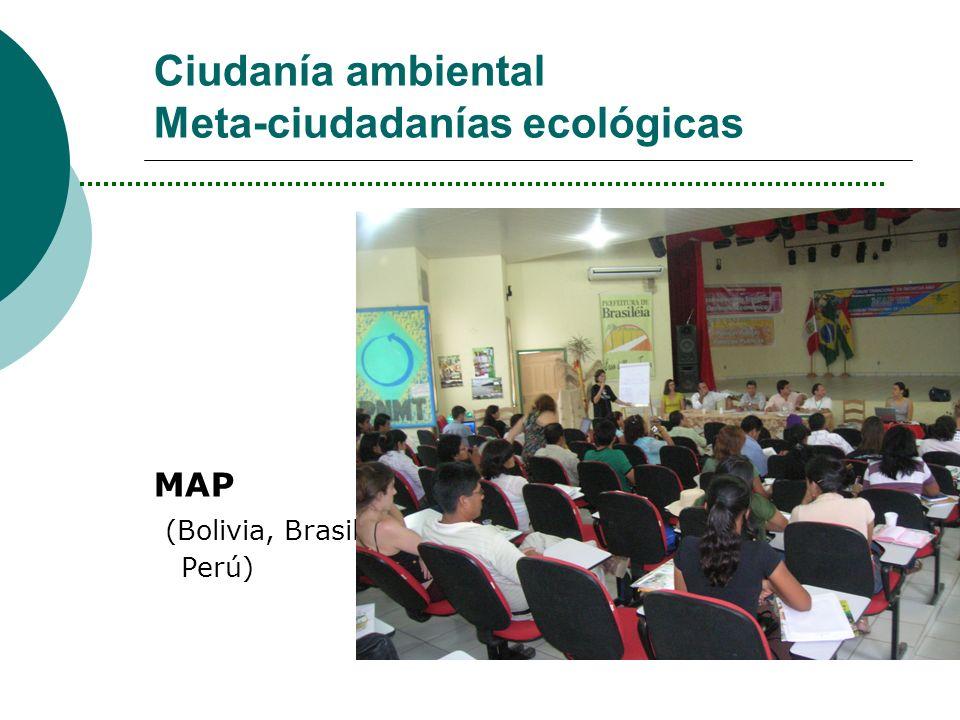 Ciudanía ambiental Meta-ciudadanías ecológicas MAP (Bolivia, Brasil, Perú)