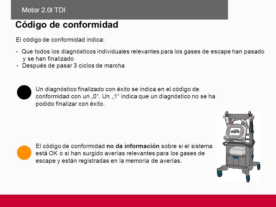 Código de conformidad El código de conformidad indica: -Después de pasar 3 ciclos de marcha Un diagnóstico finalizado con éxito se indica en el código