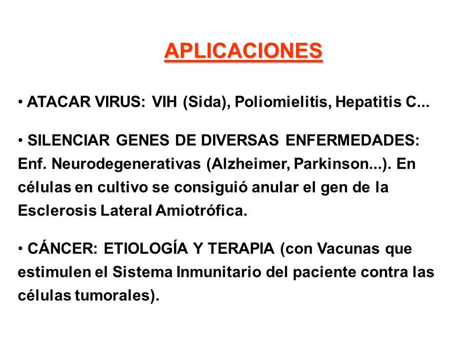 APLICACIONES ATACAR VIRUS: VIH (Sida), Poliomielitis, Hepatitis C... SILENCIAR GENES DE DIVERSAS ENFERMEDADES: Enf. Neurodegenerativas (Alzheimer, Par