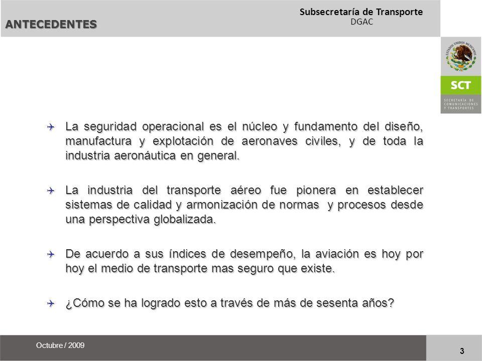Subsecretaría de Transporte DGAC 14 Octubre / 2009 REGULACION DE LA INDUSTRIA AERONAUTICA PARTE V APROBACIÓN DE MODIFICACIONES Y REPARACIONES Capítulo 1 La aeronave en servicio.