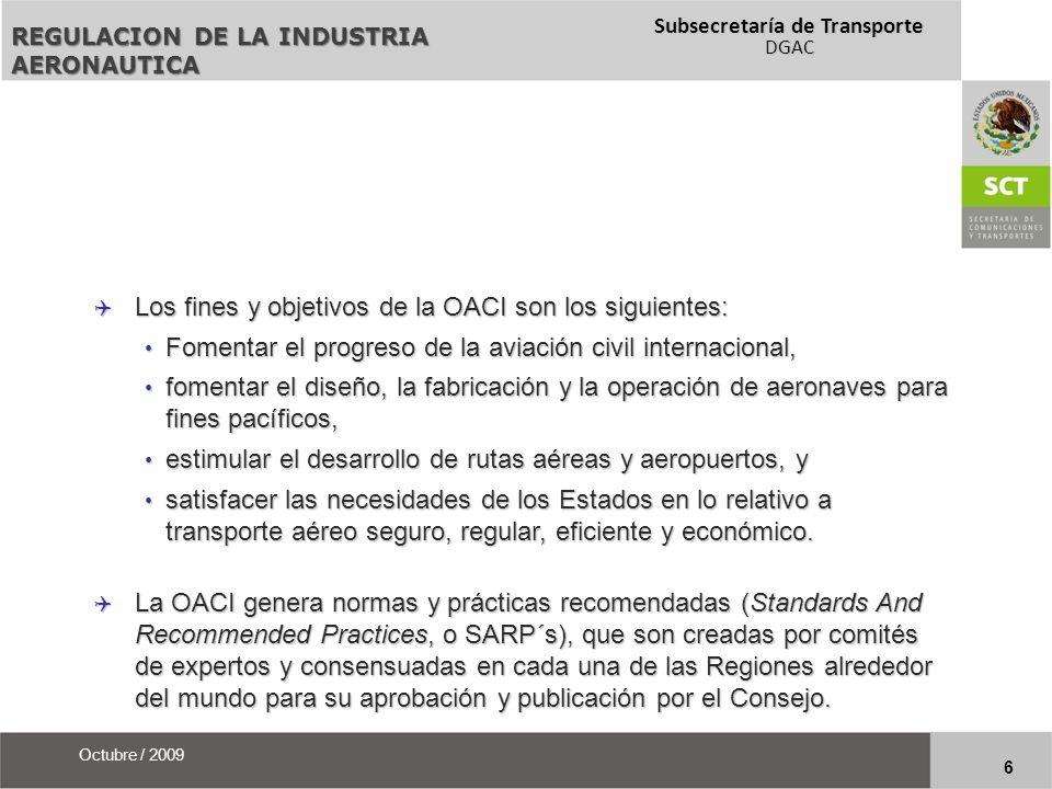 Subsecretaría de Transporte DGAC 7 Octubre / 2009 Para lograr tales fines, se han creado documentos anexos al convenio original, conocidos simplemente como Anexos OACI, de los cuáles existen a la fecha 18.