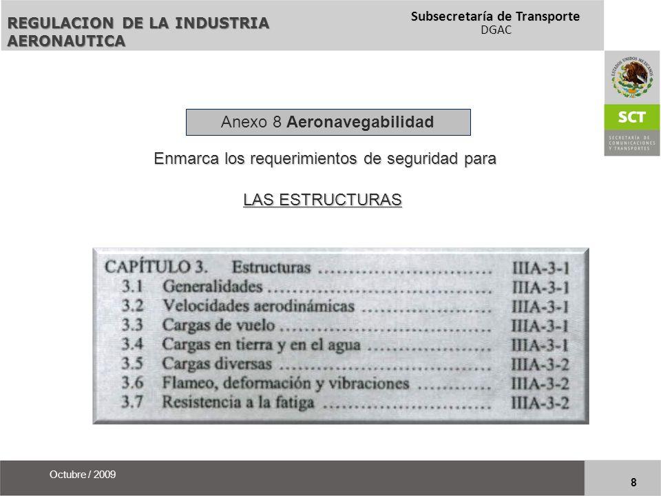 Subsecretaría de Transporte DGAC 9 Octubre / 2009 Existen documentos relativos al Anexo 8 que ofrecen abundamiento sobre los SARP´s y se refieren a las condiciones de aeronavegabilidad de los productos aeronáuticos con mucho mayor detalle.