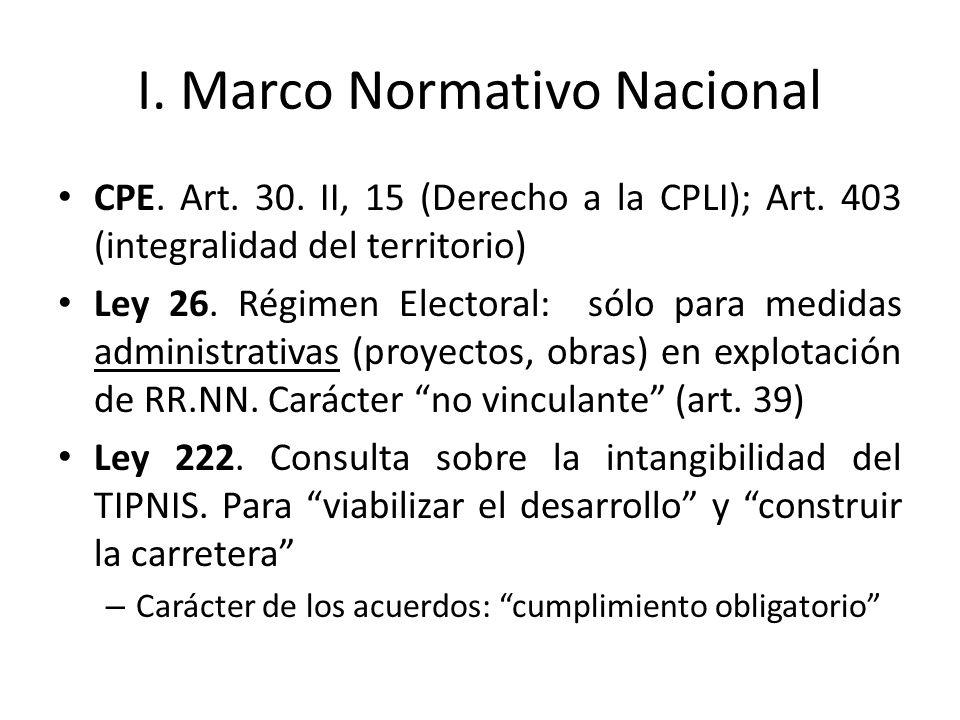 I. Marco Normativo Nacional CPE. Art. 30. II, 15 (Derecho a la CPLI); Art. 403 (integralidad del territorio) Ley 26. Régimen Electoral: sólo para medi