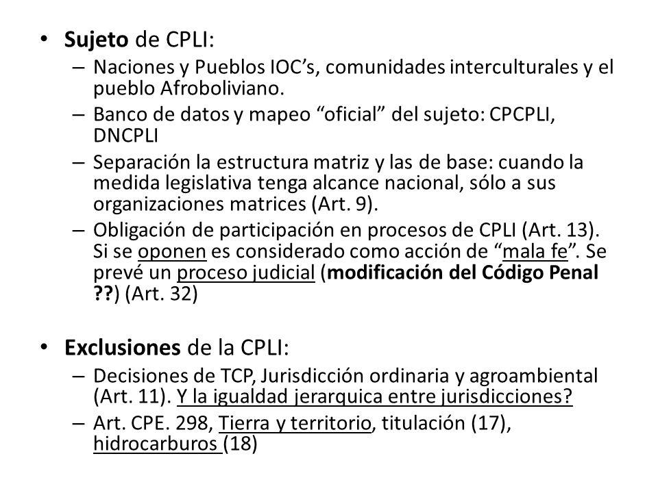 Sujeto de CPLI: – Naciones y Pueblos IOCs, comunidades interculturales y el pueblo Afroboliviano. – Banco de datos y mapeo oficial del sujeto: CPCPLI,