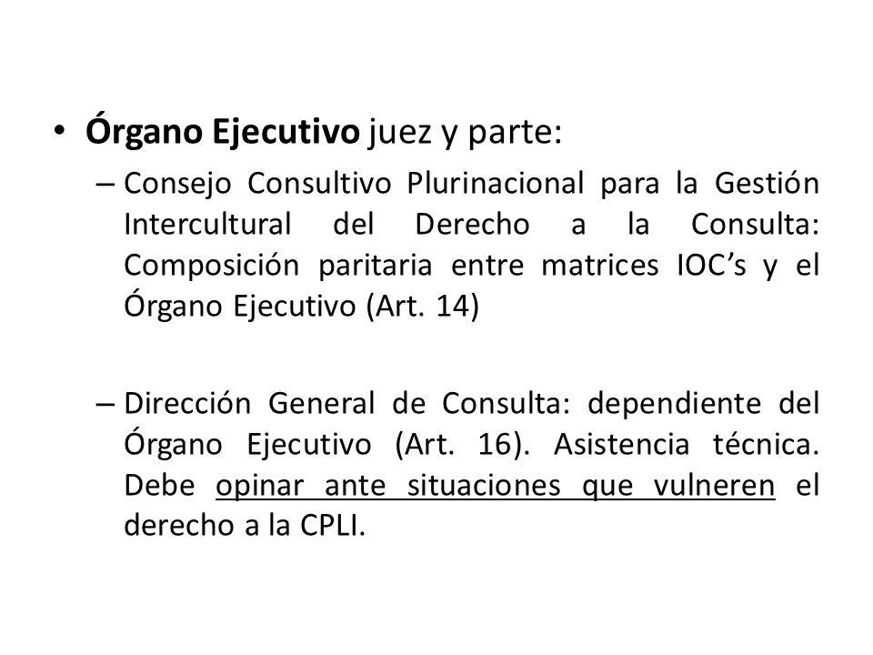 Órgano Ejecutivo juez y parte: – Consejo Consultivo Plurinacional para la Gestión Intercultural del Derecho a la Consulta: Composición paritaria entre