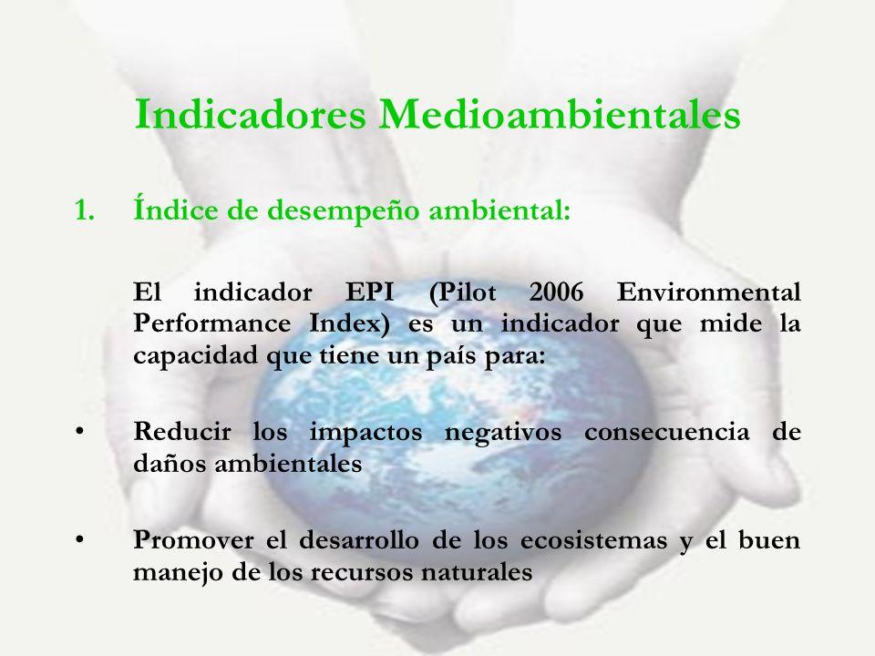 1.Índice de desempeño ambiental: El indicador EPI (Pilot 2006 Environmental Performance Index) es un indicador que mide la capacidad que tiene un país