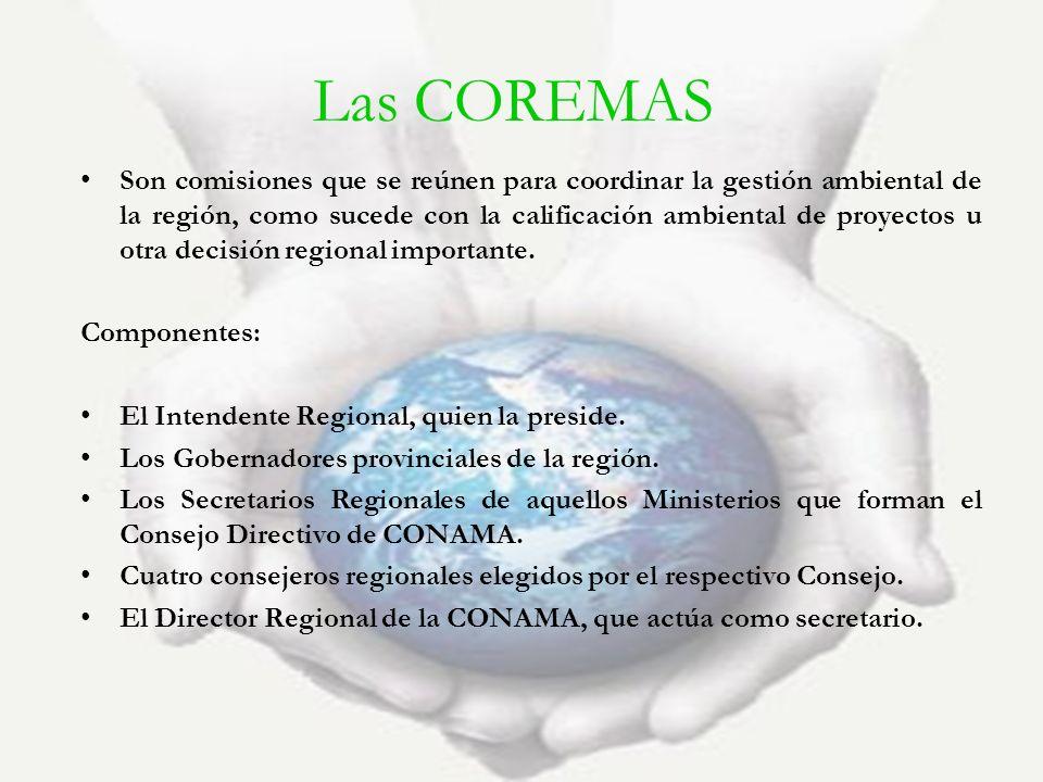 Las COREMAS Son comisiones que se reúnen para coordinar la gestión ambiental de la región, como sucede con la calificación ambiental de proyectos u ot