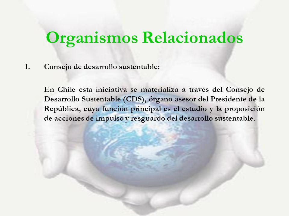 Organismos Relacionados 1.Consejo de desarrollo sustentable: En Chile esta iniciativa se materializa a través del Consejo de Desarrollo Sustentable (C