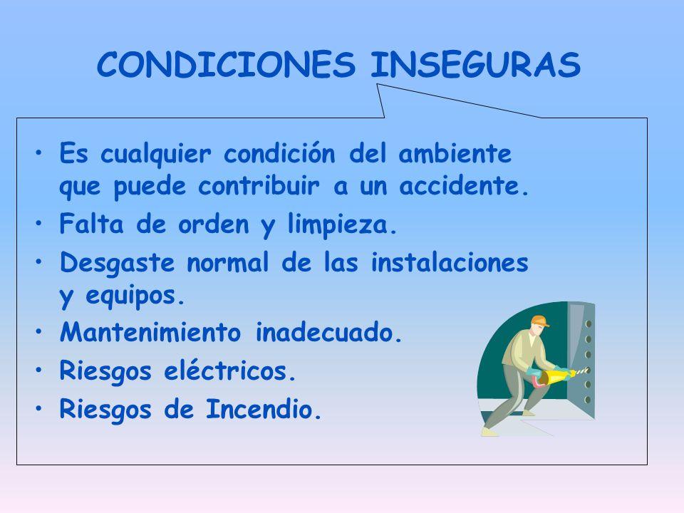 CONDICIONES INSEGURAS Es cualquier condición del ambiente que puede contribuir a un accidente. Falta de orden y limpieza. Desgaste normal de las insta