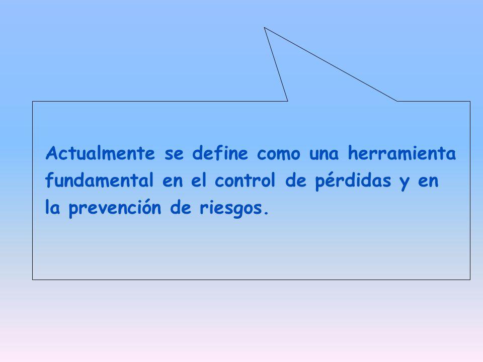 Actualmente se define como una herramienta fundamental en el control de pérdidas y en la prevención de riesgos.