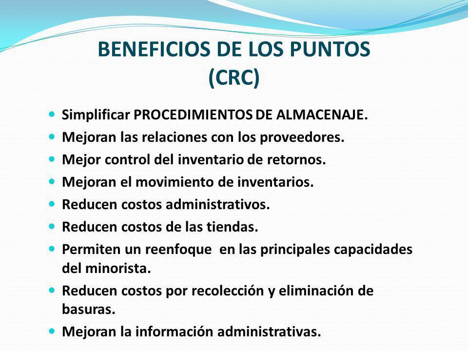BENEFICIOS DE LOS PUNTOS (CRC) Simplificar PROCEDIMIENTOS DE ALMACENAJE. Mejoran las relaciones con los proveedores. Mejor control del inventario de r