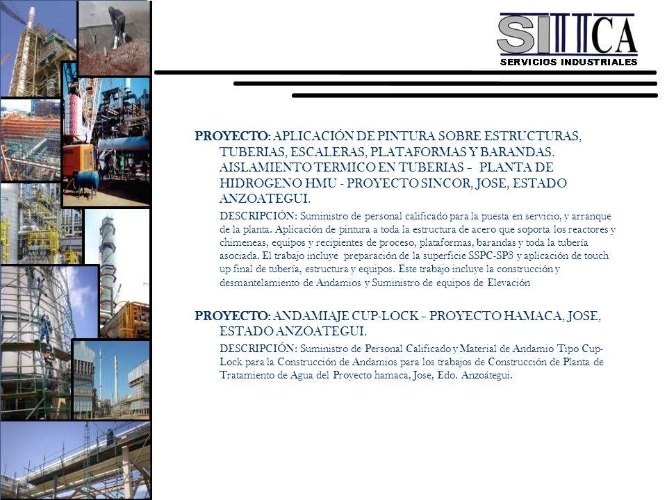 PROYECTO: APLICACIÓN DE PINTURA SOBRE ESTRUCTURAS, TUBERIAS, ESCALERAS, PLATAFORMAS Y BARANDAS. AISLAMIENTO TERMICO EN TUBERIAS – PLANTA DE HIDROGENO