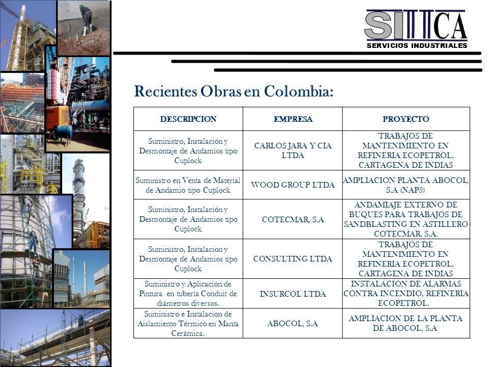 Recientes Obras en Colombia: DESCRIPCIONEMPRESAPROYECTO Suministro, Instalación y Desmontaje de Andamios tipo Cuplock CARLOS JARA Y CIA LTDA TRABAJOS