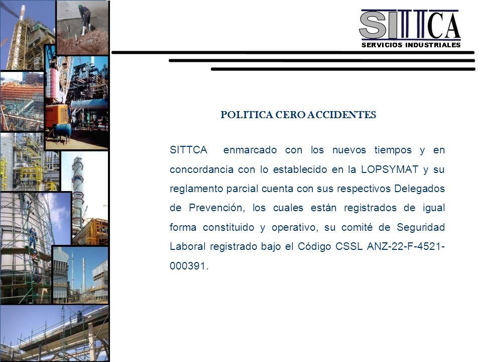 POLITICA CERO ACCIDENTES SITTCA enmarcado con los nuevos tiempos y en concordancia con lo establecido en la LOPSYMAT y su reglamento parcial cuenta co