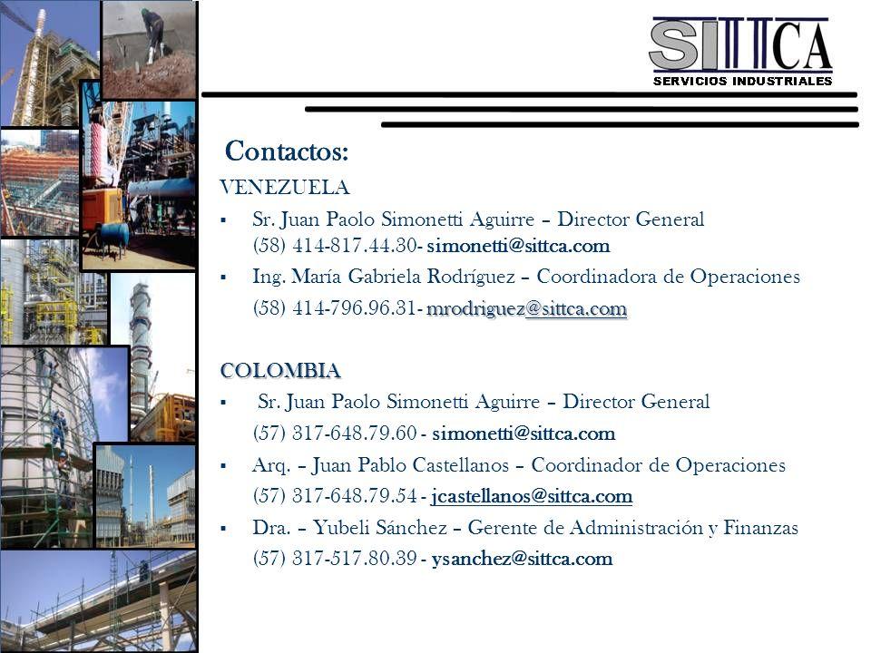 VENEZUELA Sr. Juan Paolo Simonetti Aguirre – Director General (58) 414-817.44.30- simonetti@sittca.com Ing. María Gabriela Rodríguez – Coordinadora de