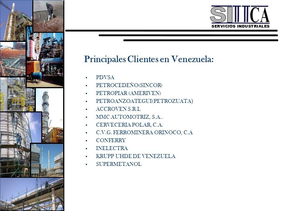 Principales Clientes en Venezuela: PDVSA PETROCEDEÑO(SINCOR) PETROPIAR (AMERIVEN) PETROANZOATEGUI(PETROZUATA ) ACCROVEN S.R.L MMC AUTOMOTRIZ, S.A.. CE
