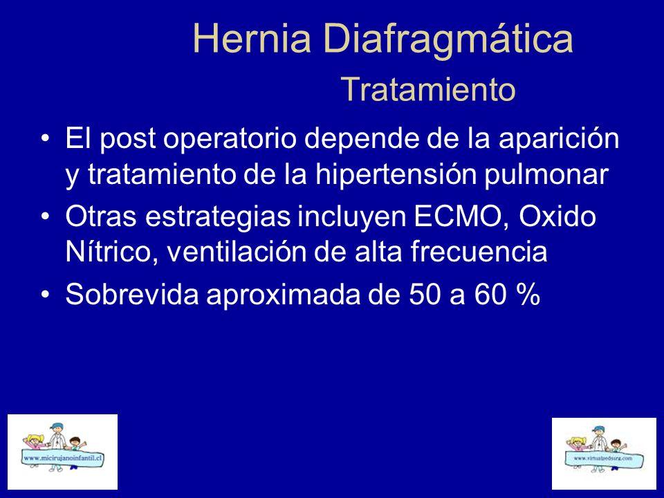 Hernia Diafragmática Tratamiento El post operatorio depende de la aparición y tratamiento de la hipertensión pulmonar Otras estrategias incluyen ECMO,