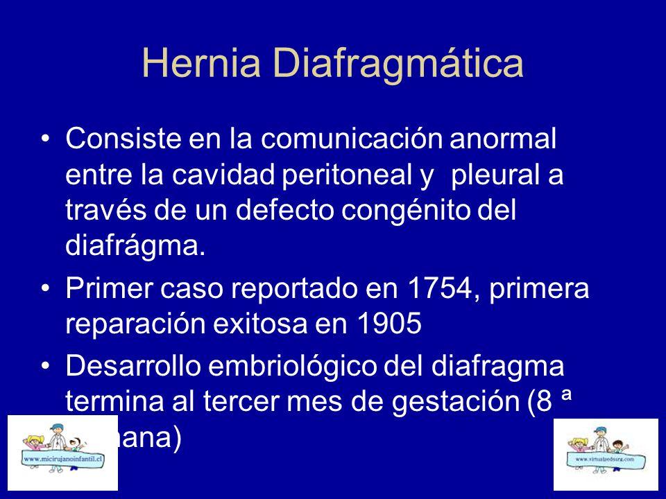 Hernia Diafragmática Consiste en la comunicación anormal entre la cavidad peritoneal y pleural a través de un defecto congénito del diafrágma. Primer