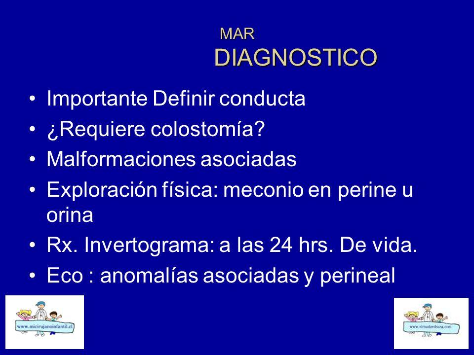 MAR DIAGNOSTICO Importante Definir conducta ¿Requiere colostomía? Malformaciones asociadas Exploración física: meconio en perine u orina Rx. Invertogr
