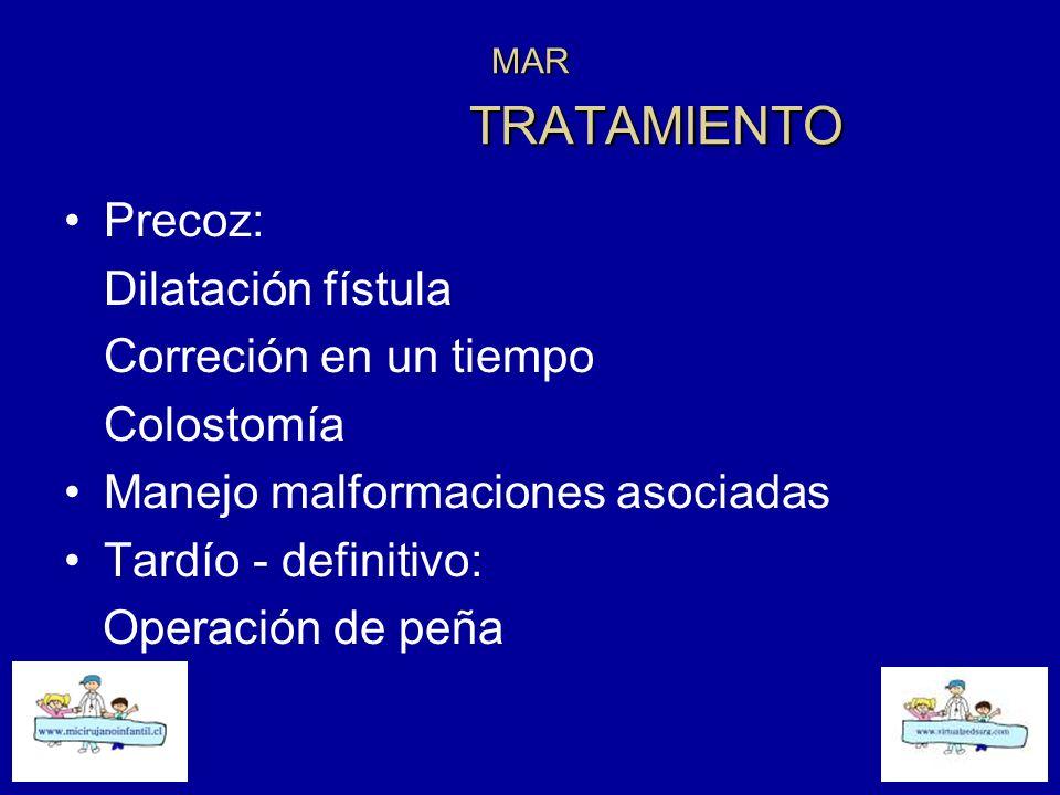 MAR TRATAMIENTO Precoz: Dilatación fístula Correción en un tiempo Colostomía Manejo malformaciones asociadas Tardío - definitivo: Operación de peña
