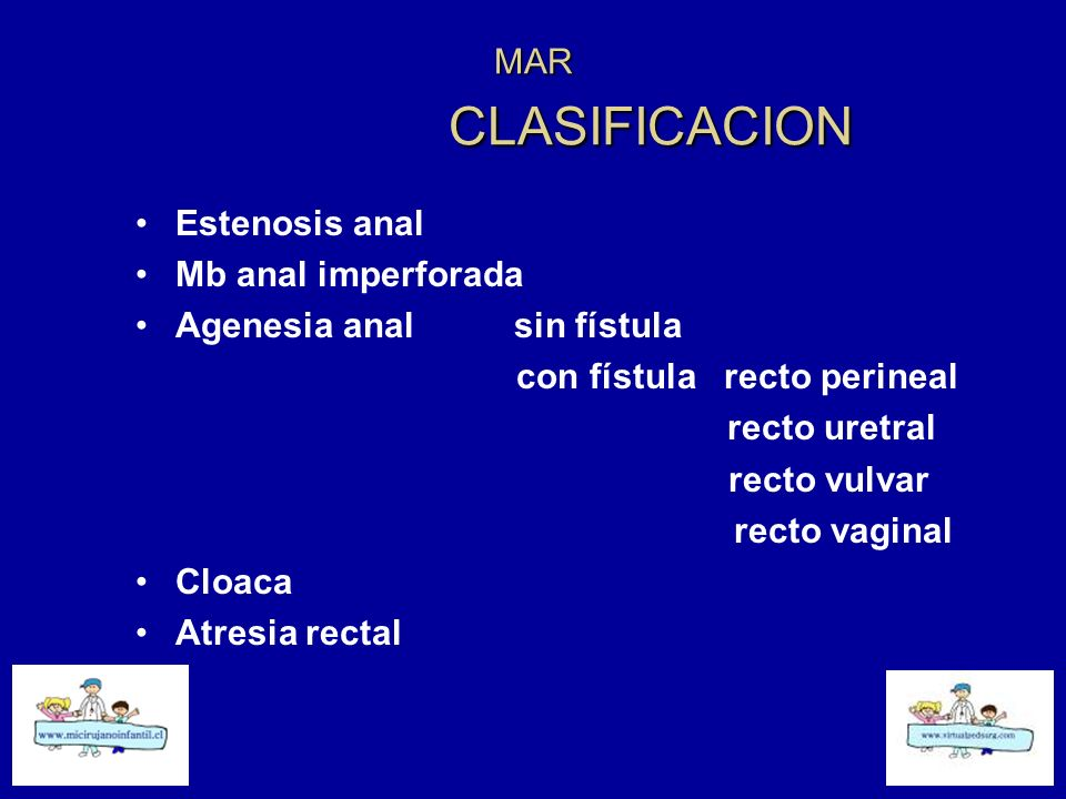MAR CLASIFICACION Estenosis anal Mb anal imperforada Agenesia anal sin fístula con fístula recto perineal recto uretral recto vulvar recto vaginal Clo