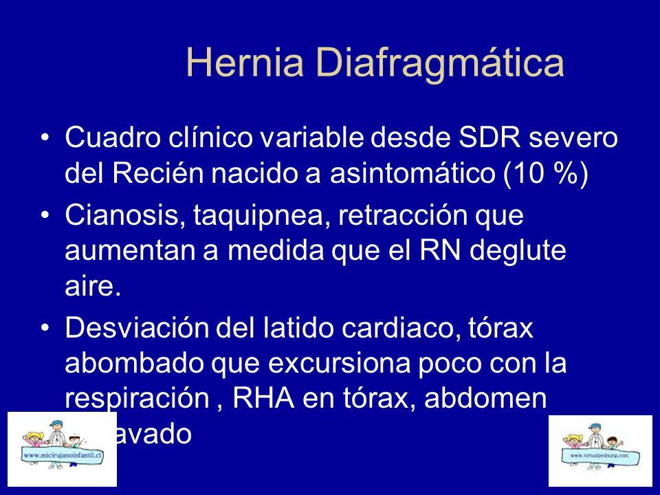 Hernia Diafragmática Cuadro clínico variable desde SDR severo del Recién nacido a asintomático (10 %) Cianosis, taquipnea, retracción que aumentan a m