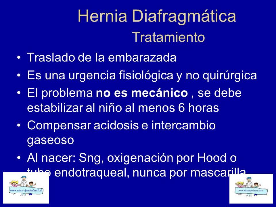 Hernia Diafragmática Tratamiento Traslado de la embarazada Es una urgencia fisiológica y no quirúrgica El problema no es mecánico, se debe estabilizar
