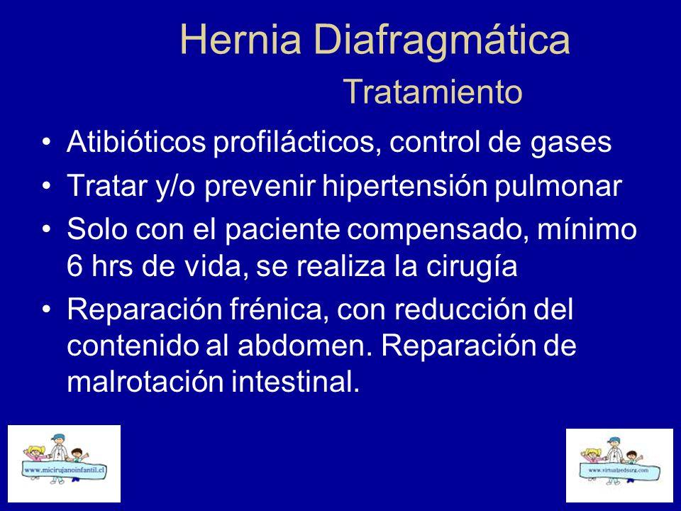 Hernia Diafragmática Tratamiento Atibióticos profilácticos, control de gases Tratar y/o prevenir hipertensión pulmonar Solo con el paciente compensado