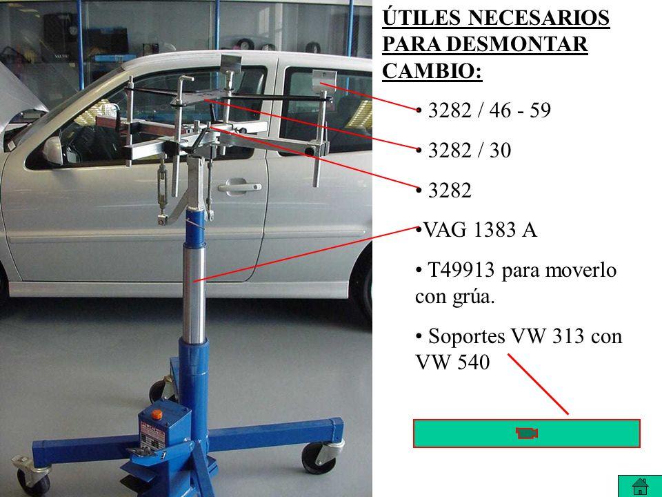 ÚTILES NECESARIOS PARA DESMONTAR CAMBIO: 3282 / 46 - 59 3282 / 30 3282 VAG 1383 A T49913 para moverlo con grúa.