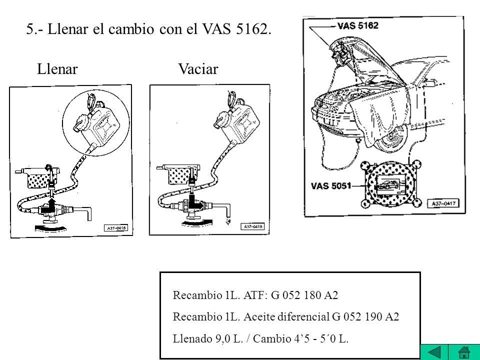 5.- Llenar el cambio con el VAS 5162.LlenarVaciar Recambio 1L.