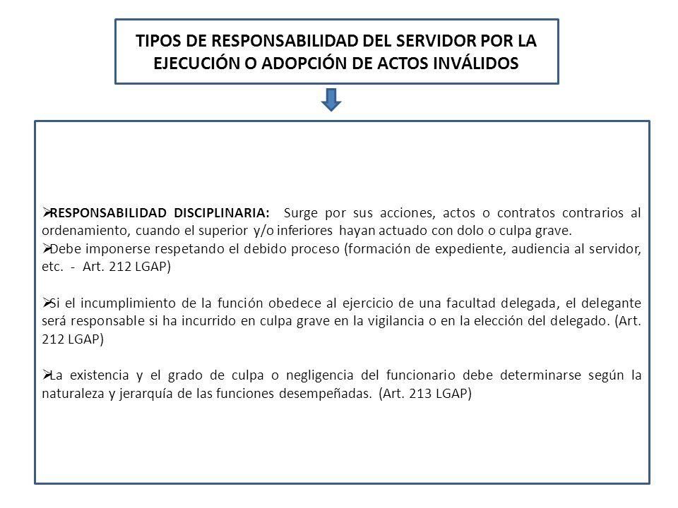 TIPOS DE RESPONSABILIDAD DEL SERVIDOR POR LA EJECUCIÓN O ADOPCIÓN DE ACTOS INVÁLIDOS RESPONSABILIDAD DISCIPLINARIA: Surge por sus acciones, actos o co