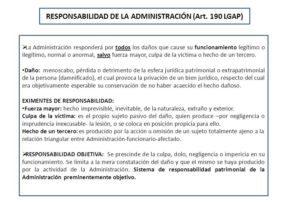 RESPONSABILIDAD DE LA ADMINISTRACIÓN (Art. 190 LGAP) La Administración responderá por todos los daños que cause su funcionamiento legítimo o ilegítimo