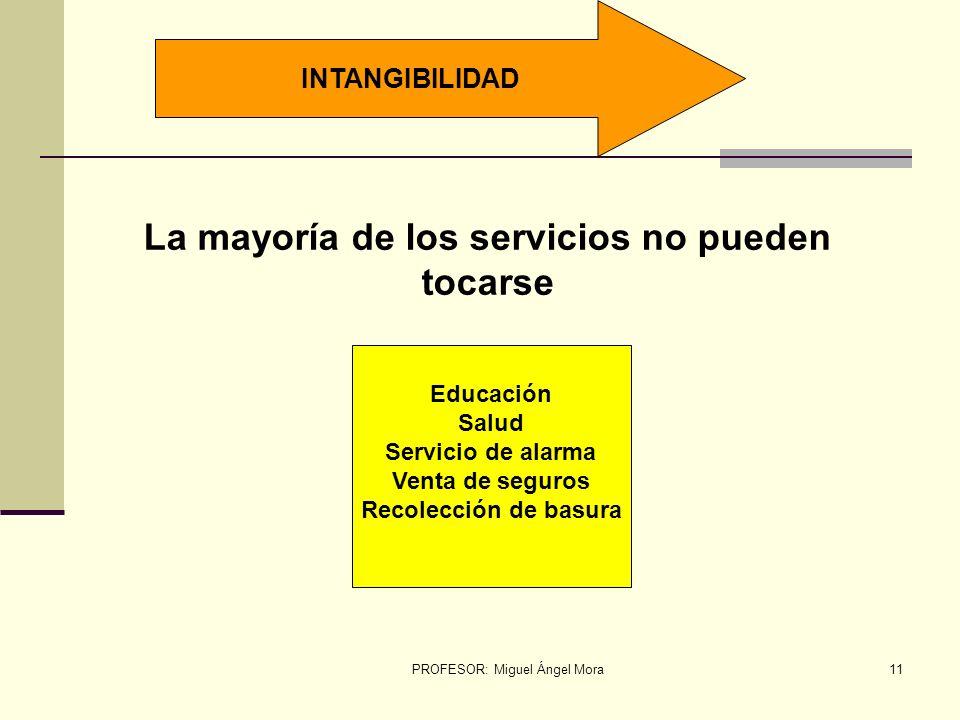 PROFESOR: Miguel Ángel Mora10 CARACTERÍSTICAS DE UN SERVICIO INTANGIBILIDAD DINAMISMO VARIABILIDAD INSEPARABILIDAD
