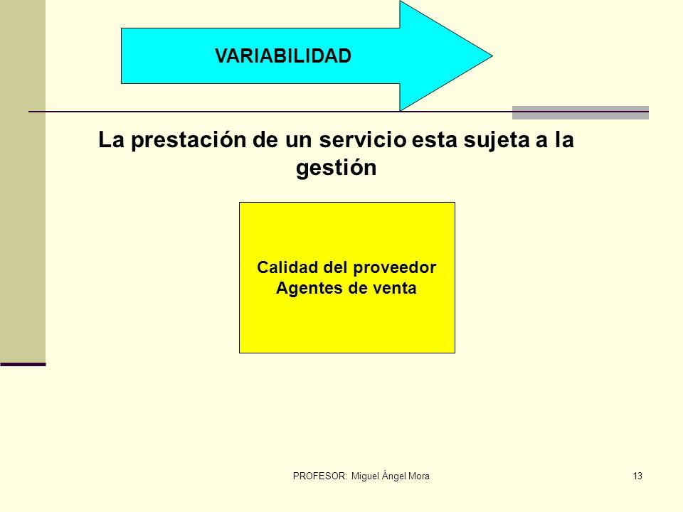 PROFESOR: Miguel Ángel Mora12 INSEPARABILIDAD Los objeto/bienes físicos producen, después almacenan, Vende y se consumen Proveedor cliente