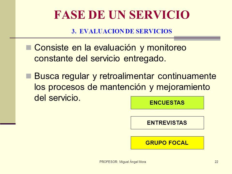 PROFESOR: Miguel Ángel Mora21 FASE DE UN SERVICIO 2. PLANIFICACION Y DESAROLLO Consiste en planificar y desarrollar el servicio de acuerdo a las neces