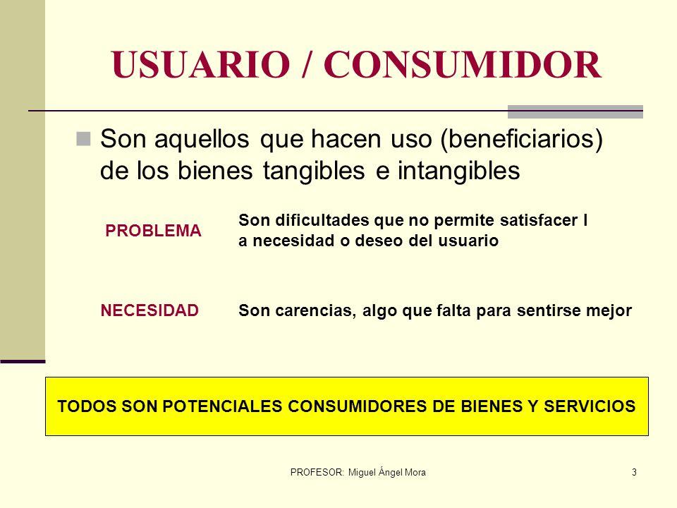 PROFESOR: Miguel Ángel Mora2 BIENES TANGIBLES INTANGIBLES Productos tecnológicos que permite satisfacer las necesidades de los usuarios OBJETOS TECNOL