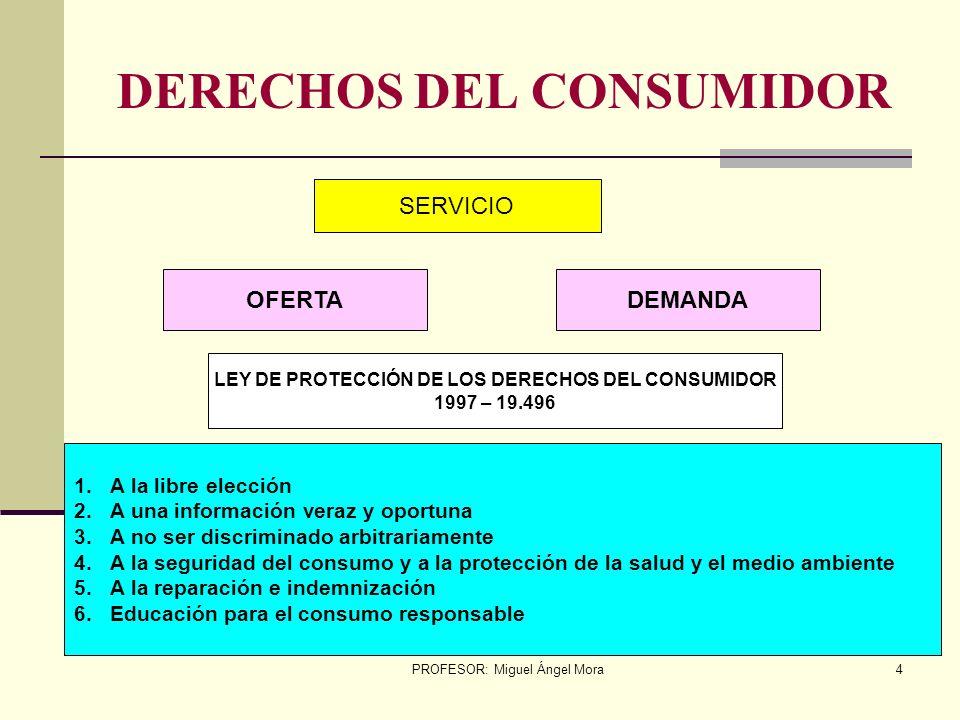PROFESOR: Miguel Ángel Mora3 USUARIO / CONSUMIDOR Son aquellos que hacen uso (beneficiarios) de los bienes tangibles e intangibles NECESIDAD PROBLEMA