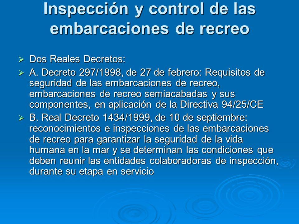Inspección y control de las embarcaciones de recreo Dos Reales Decretos: Dos Reales Decretos: A. Decreto 297/1998, de 27 de febrero: Requisitos de seg