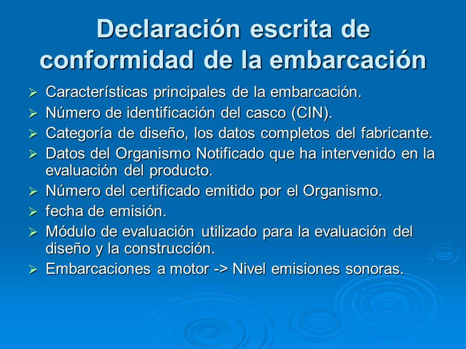 Declaración escrita de conformidad de la embarcación Características principales de la embarcación. Características principales de la embarcación. Núm
