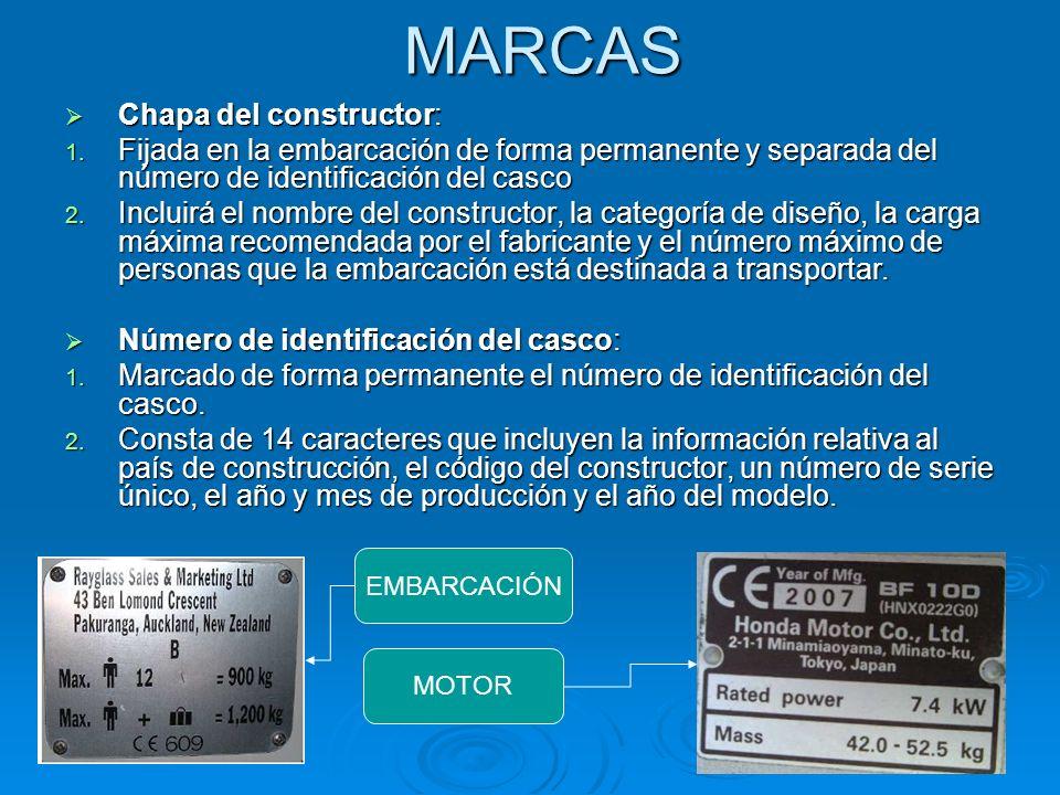 MARCAS Chapa del constructor: Chapa del constructor: 1. Fijada en la embarcación de forma permanente y separada del número de identificación del casco