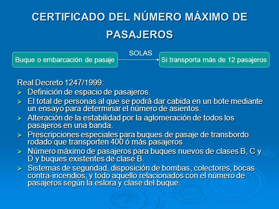 CERTIFICADO DEL NÚMERO MÁXIMO DE PASAJEROS Real Decreto 1247/1999: Definición de espacio de pasajeros. Definición de espacio de pasajeros. El total de