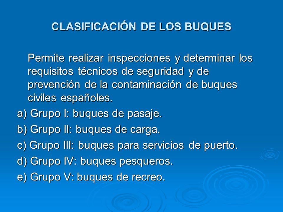 CLASIFICACIÓN DE LOS BUQUES Permite realizar inspecciones y determinar los requisitos técnicos de seguridad y de prevención de la contaminación de buq