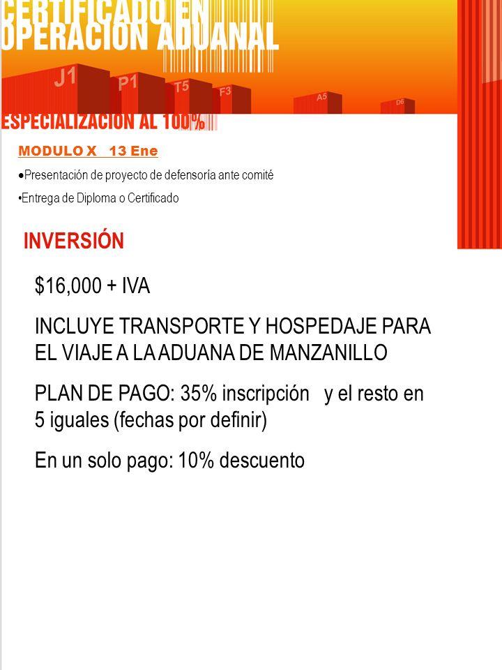 MODULO X 13 Ene Presentación de proyecto de defensoría ante comité Entrega de Diploma o Certificado INVERSIÓN $16,000 + IVA INCLUYE TRANSPORTE Y HOSPE