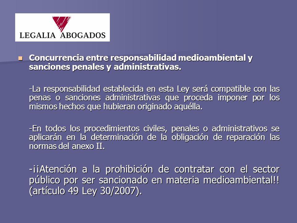 Concurrencia entre responsabilidad medioambiental y sanciones penales y administrativas.