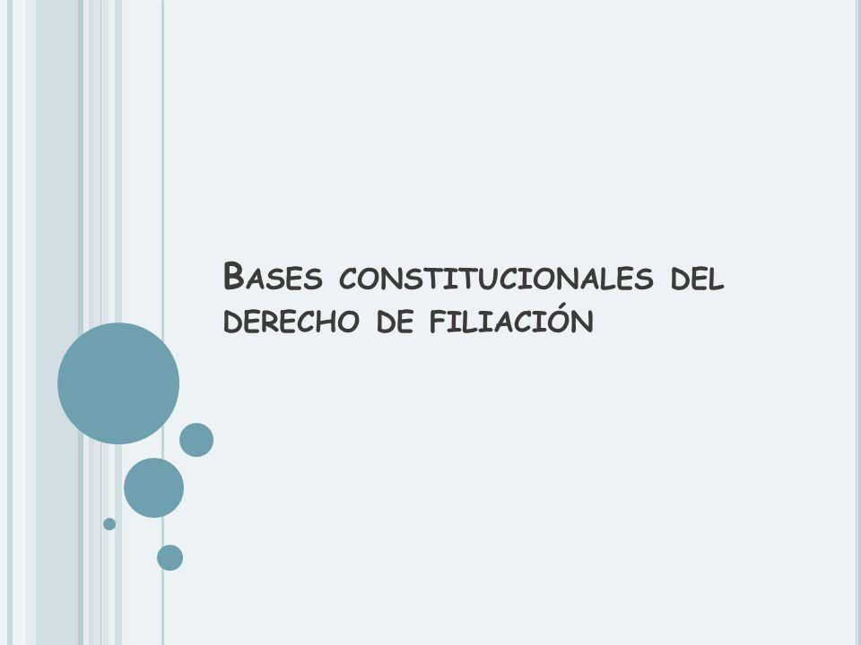 B ASES CONSTITUCIONALES DEL DERECHO DE FILIACIÓN