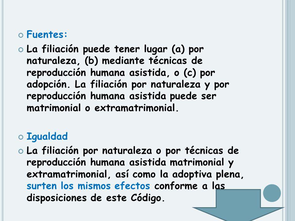 Fuentes: La filiación puede tener lugar (a) por naturaleza, (b) mediante técnicas de reproducción humana asistida, o (c) por adopción. La filiación po