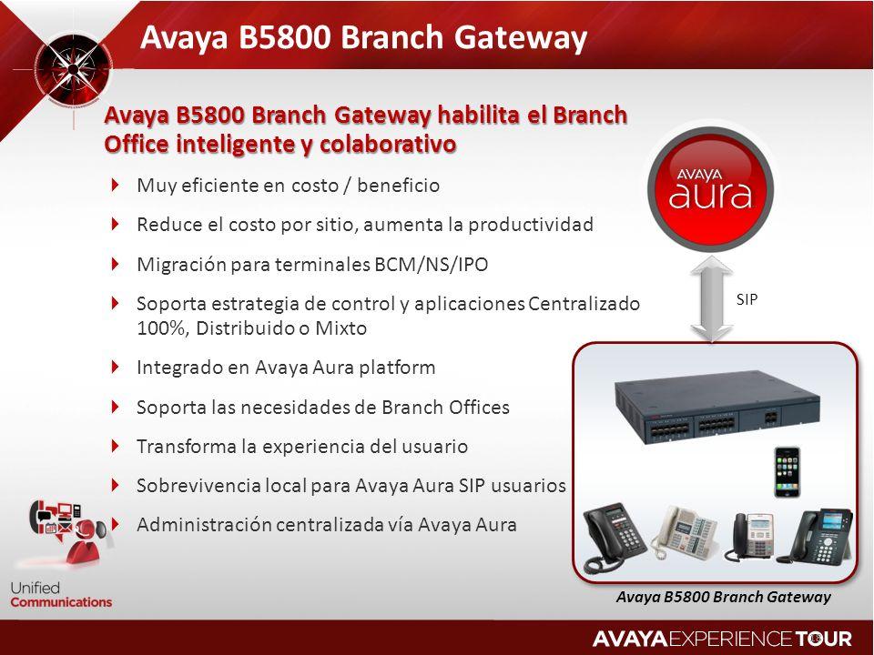 18 SIP Avaya B5800 Branch Gateway 18 Avaya B5800 Branch Gateway Avaya B5800 Branch Gateway habilita el Branch Office inteligente y colaborativo Muy eficiente en costo / beneficio Reduce el costo por sitio, aumenta la productividad Migración para terminales BCM/NS/IPO Soporta estrategia de control y aplicaciones Centralizado 100%, Distribuido o Mixto Integrado en Avaya Aura platform Soporta las necesidades de Branch Offices Transforma la experiencia del usuario Sobrevivencia local para Avaya Aura SIP usuarios Administración centralizada vía Avaya Aura