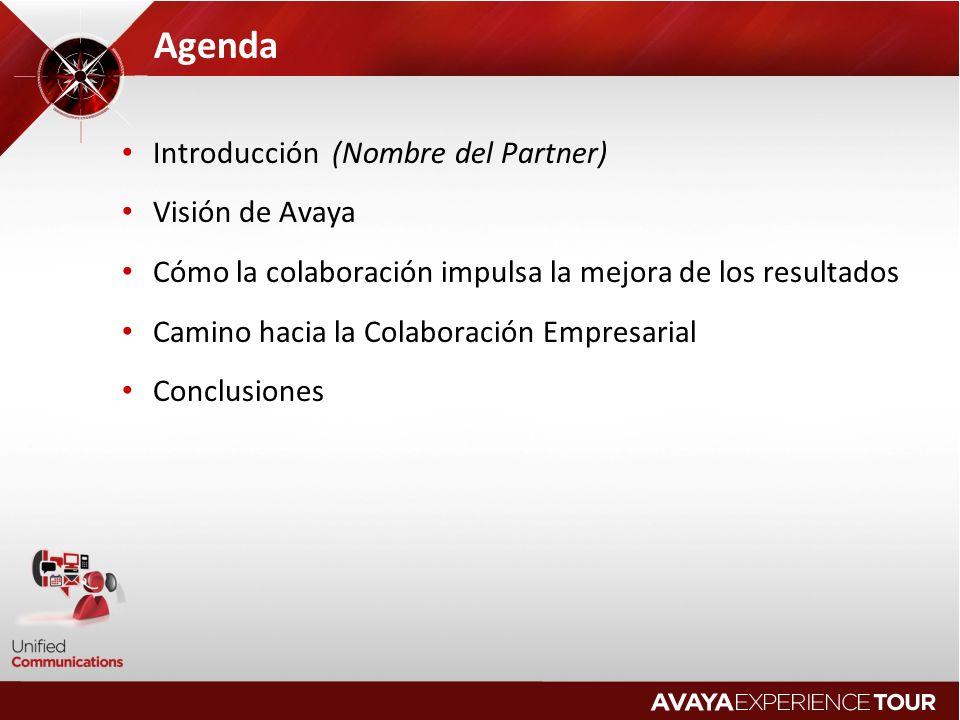 Agenda Introducción (Nombre del Partner) Visión de Avaya Cómo la colaboración impulsa la mejora de los resultados Camino hacia la Colaboración Empresarial Conclusiones