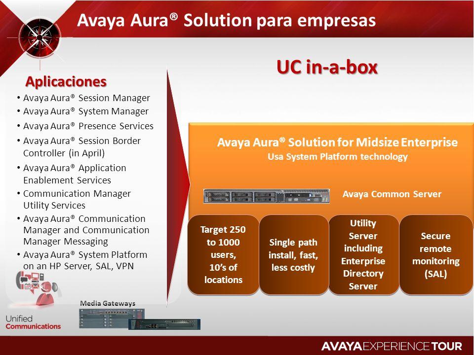 Avaya Aura® Solution para empresas Target 250 to 1000 users, 10s of locations Target 250 to 1000 users, 10s of locations Utility Server including Ente