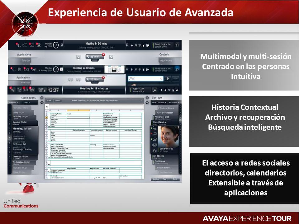 Experiencia de Usuario de Avanzada Multimodal y multi-sesión Centrado en las personas Intuitiva Historia Contextual Archivo y recuperación Búsqueda inteligente El acceso a redes sociales directorios, calendarios Extensible a través de aplicaciones